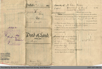 Land Deed Agreement Between Jonathan Cornell and Samuel Cornell