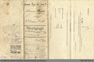 Mortgage Agreement Between Dennis Purdy and Oliver Fish