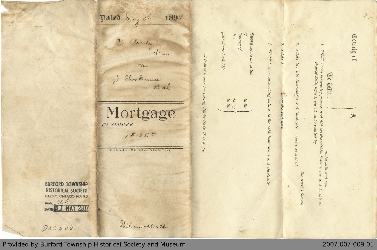 Mortgage Agreement Between Dennis Purdy and James Workman