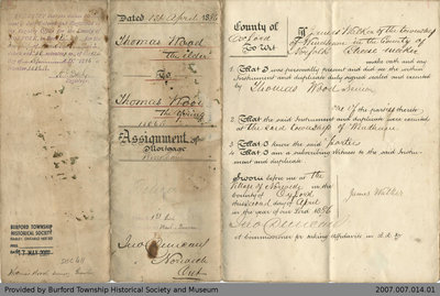 Assignment of Mortgage from Thomas Wood the Elder to Thomas Wood the Younger