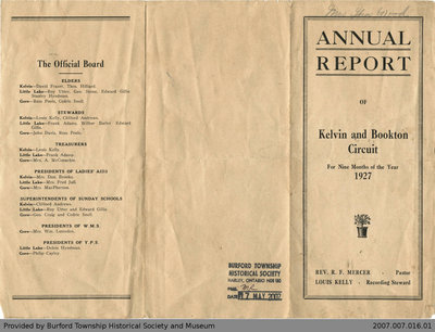Kelvin and Bookton Circuit Annual Report for 1927