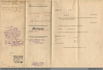 Mortgage Agreement Between Richard L. Brooks and Thomas Aulsebrook