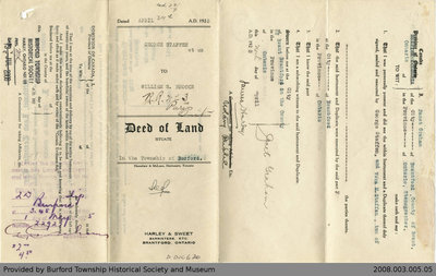 Land Deed Agreement Between George Steffan and William S. Brooks