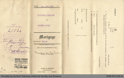 Mortgage Agreement Between Frederick Puckridge and Matthew F. Muir