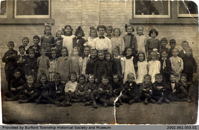 Postcard Featuring a Class Photo at Burford Public School