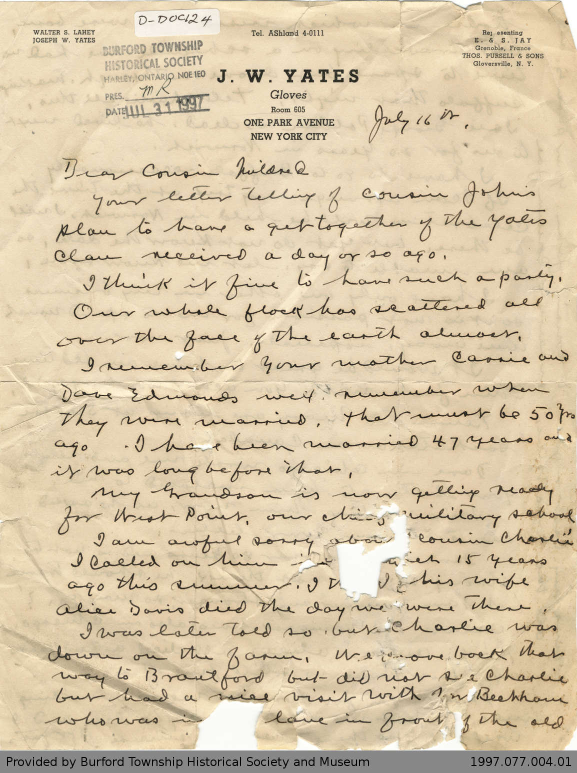 Letter from Joseph Yates to Mildred Deveney