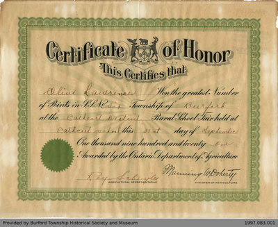 1921 Cathcart School Fair Certificate