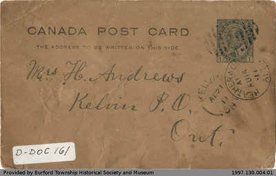Postcard Sent to Mrs. H. Andrews from William S. Cranston