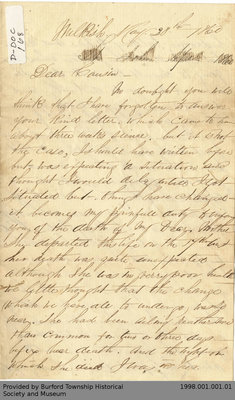 Letter From Joseph Fennick to His Cousin