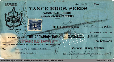 Cheque Issued by Vance Bros Seeds to F.A. Miller
