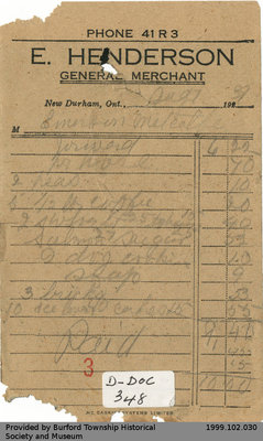 Receipt Issued by E. Henderson General Store for Emerson Metcalfe