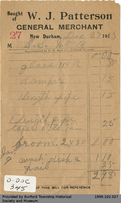 Receipt Issued by W.J. Patterson General Store for New Durham School