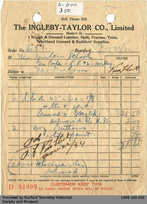 Receipt Issued by Ingleby-Taylor Co. for George Poole