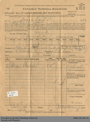 Bill of Lading for George A. Poole