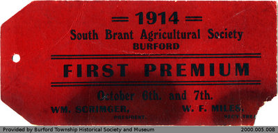 1914 South Brant Agricultural Society Prize Tags