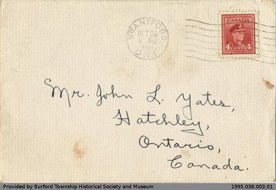 Letter Written to John L. Yates