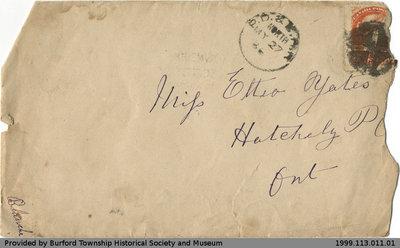 Letter Addressed to Ettie Yates