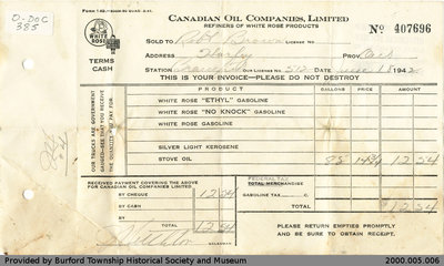 Invoice Issued by Canadian Oil Companies Ltd. for Robert Brown