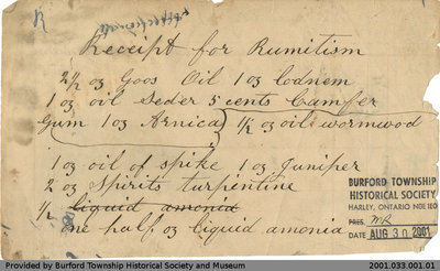 "Recipes for ""Mr. Jacobes Salve"" and a Cure for Rheumatism"