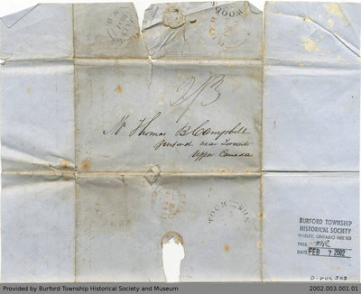 1851 Letter Written to Thomas B Campbell from W.H. Fisher