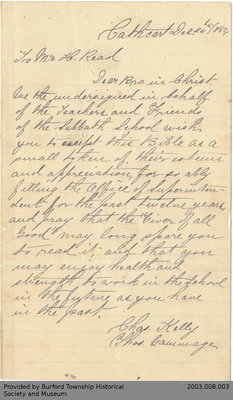 Letter to Henry Read from Charles Kelly and Charles Gammage