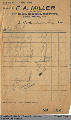 Early Twentieth Century Receipts from F.A. Miller Store