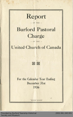 1936 Annual Report of the Burford Pastoral Charge of the United Church of Canada