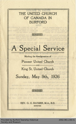 1926 Burford United Church Amalgamation Service Programme