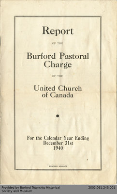 1940 Annual Report of the Burford Pastoral Charge of the United Church of Canada