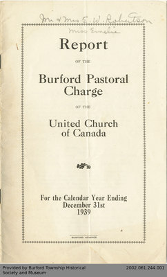 1939 Annual Report of the Burford Pastoral Charge of the United Church of Canada