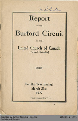 1927 Annual Report of the Burford Pastoral Charge of the United Church of Canada