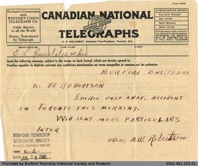Telegram from A.W. Robertson