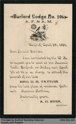 Invitation to D.H. Taylor's Funeral