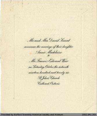 Wedding Announcement for Annie Madeleine Secord and Francis Edward Weir
