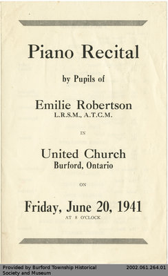 Programme for Piano Recital by the Pupils of Emilie Robertson