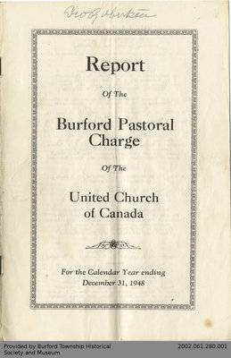 1948 Annual Report of the Burford Pastoral Charge of the United Church of Canada