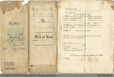 Deed of Land Transfer from Henry Cox and William Lewis to William Chrysler