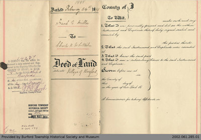 Deed of Land Transfer from Frank A. Miller to Charles H. Whittaker