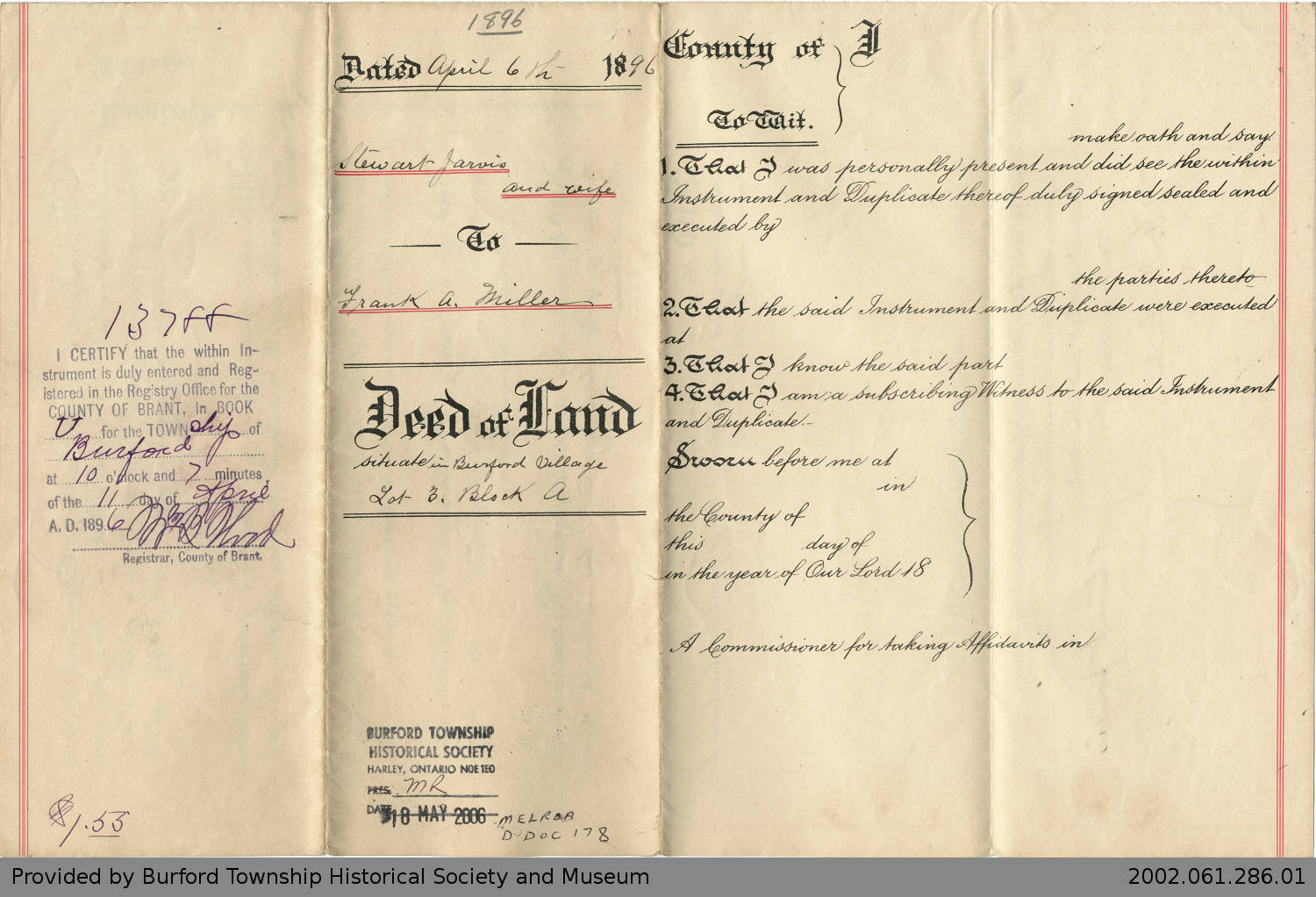 Full Image View: Deed of Land Transfer from Stewart Jarvis
