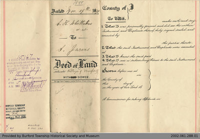 Deed of Land Transfer from Charles Whittaker to Stewart Jarvis