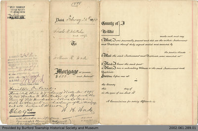 Mortgage Issued by Charles Whittaker to William H. Wade