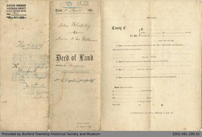 Deed of Land Transfer from John Whelpley to Aaron B. McWilliams