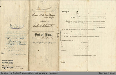Deed of Land Transfer from Aaron B. McWilliams to Robert Whittaker