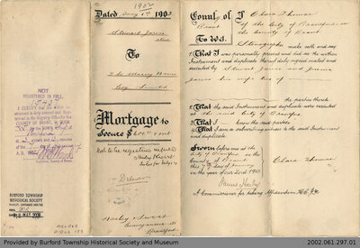 Mortgage Issued to Stewart Jarvis by the Massy Harris Company