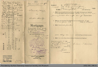 Mortgage Issued to Stewart Jarvis by Archibald Harley