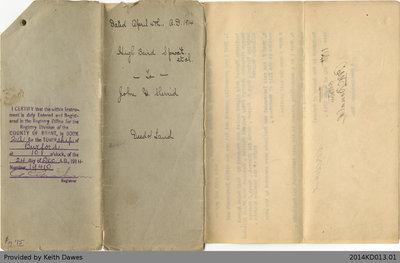 Deed of Land Transfer from Hugh Baird Sproat et al. to John Henry Sherred