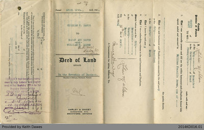 Deed of Land Transfer from William F. Dawes to Sarah Ann Dawes and William F. Dawes