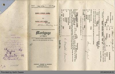 Mortgage Agreement Between Elmer Donald Dawes and Sarah Ann Dawes