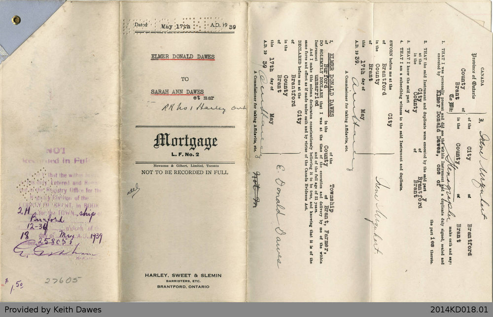 Mortgage Agreement Between Elmer Donald Dawes and Sarah Ann Dawes