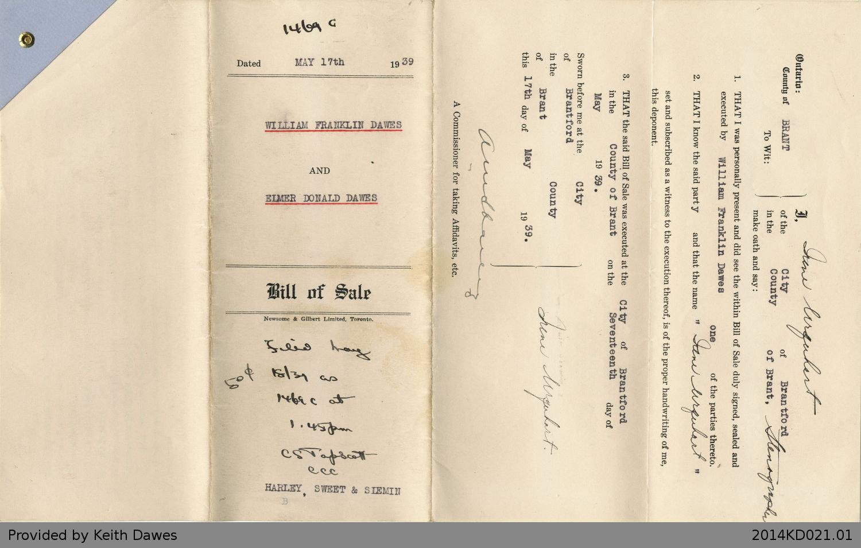 Bill of Sale Between William Franklin Dawes and Elmer Donald Dawes